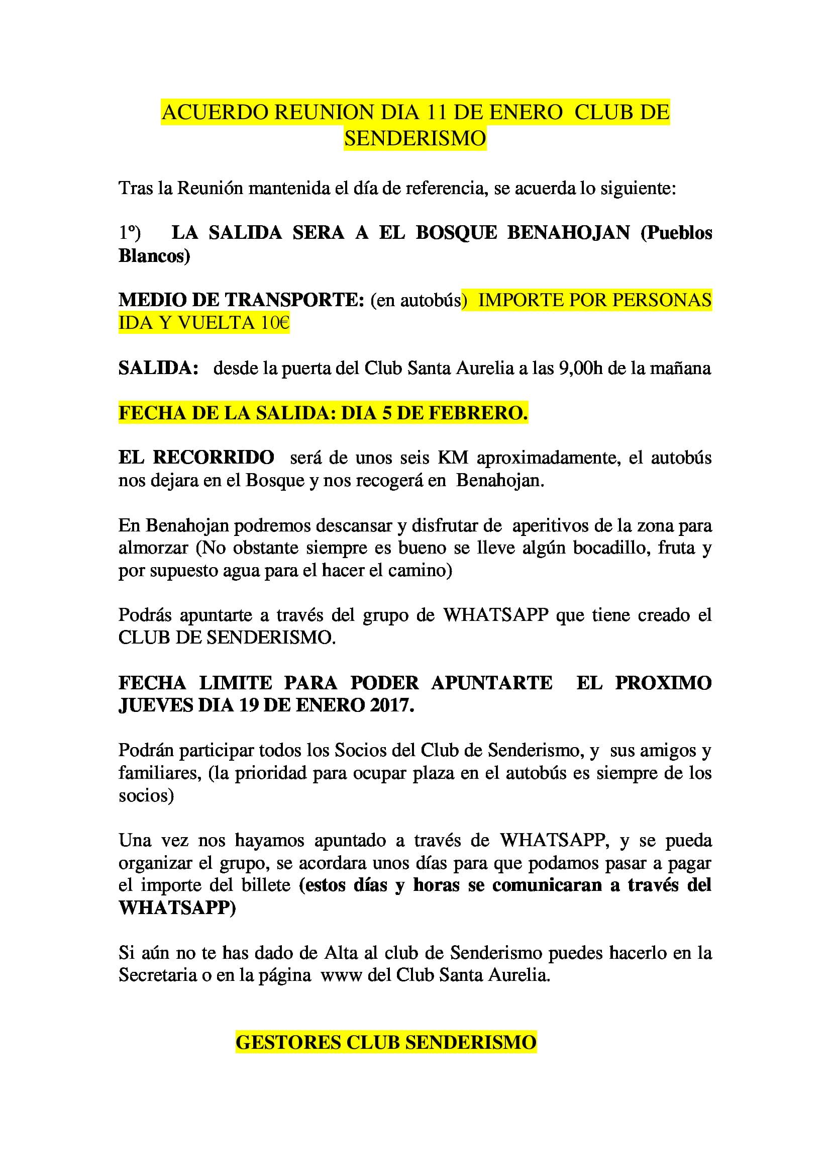 ACUERDO REUNION SENDERISMO 11 ENERO 17
