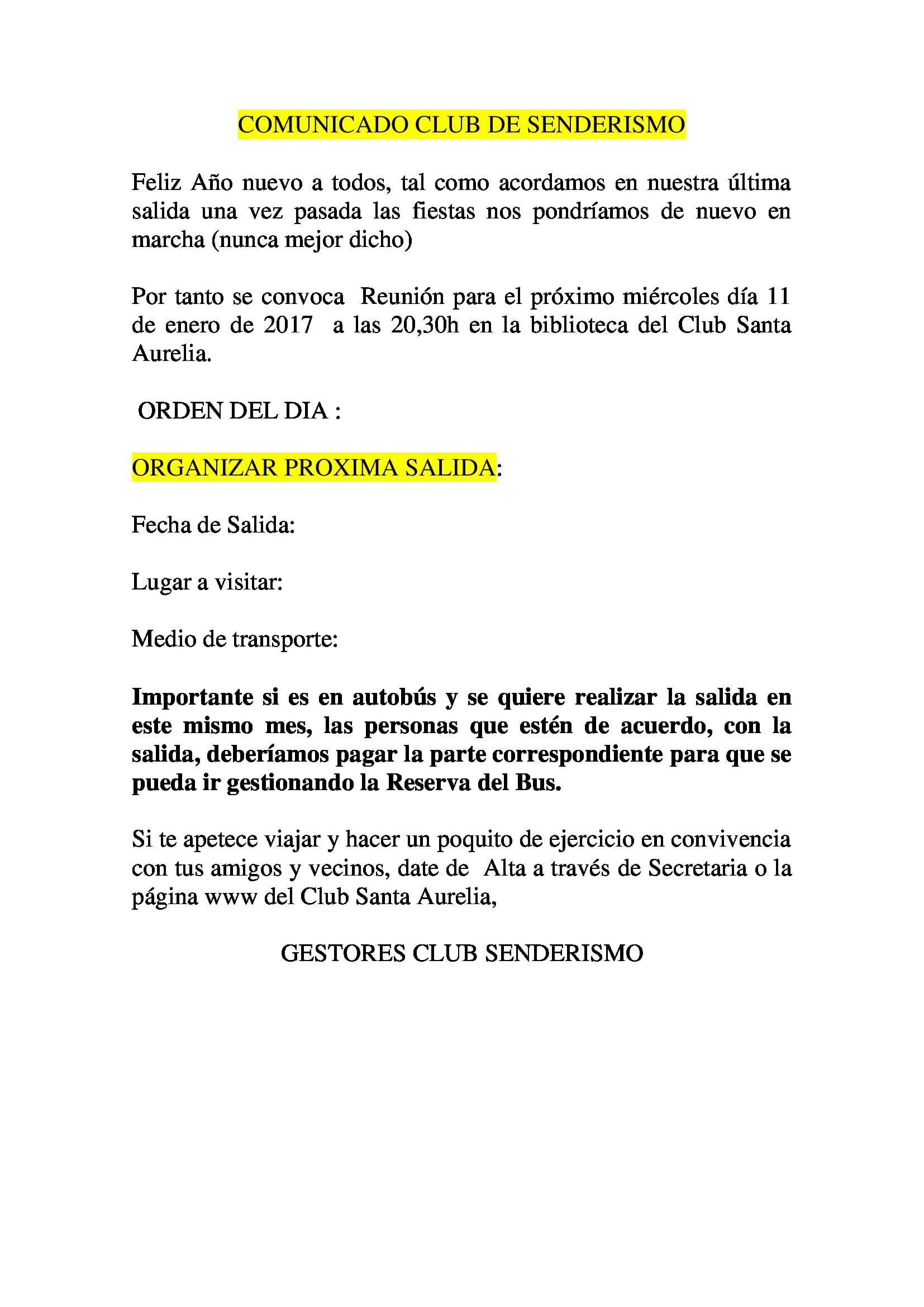 CLUB DE SENDERISMO REUNION 11 ENERO 17 1