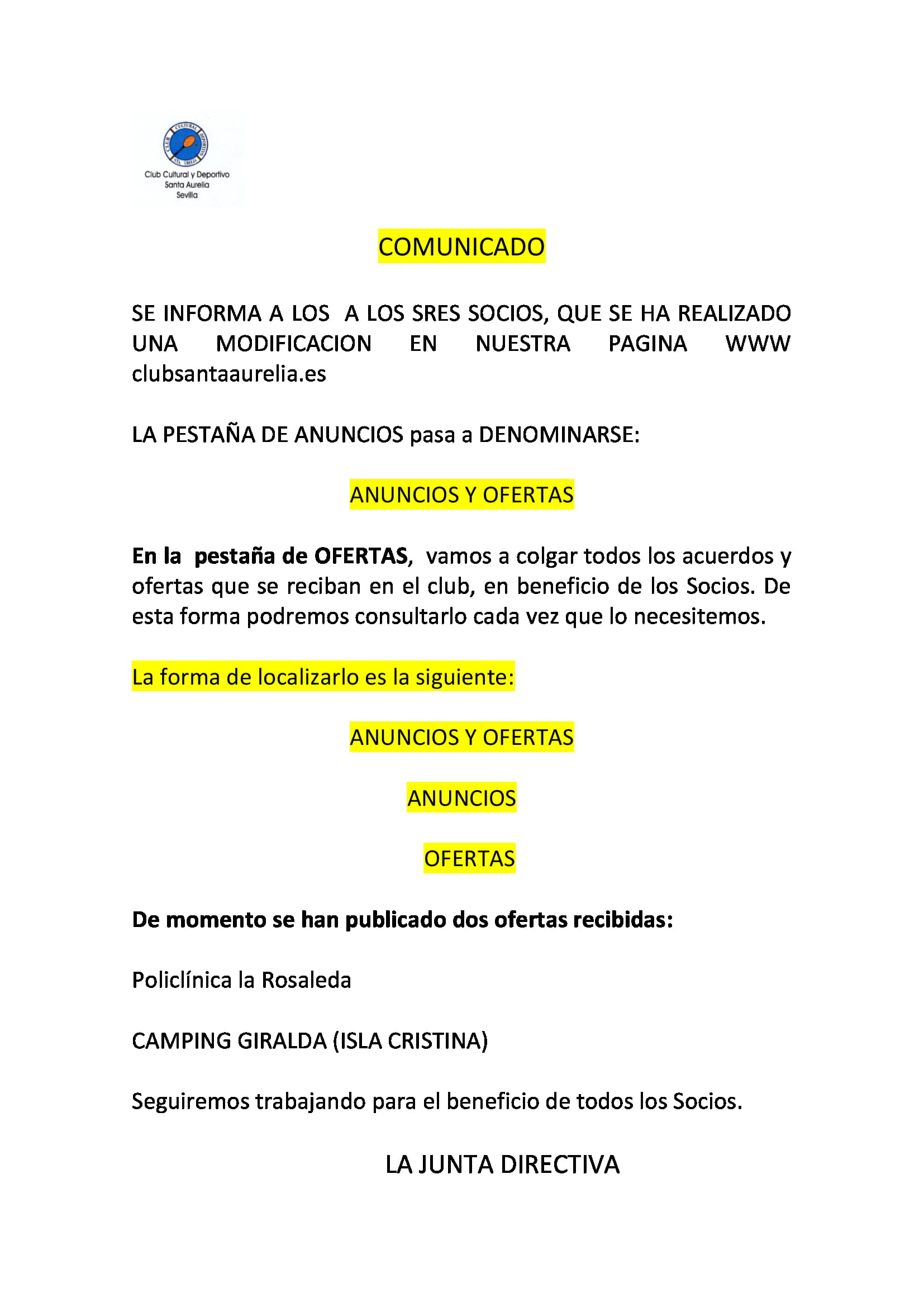 COMUNICADO ANUNCIOS Y OFERTAS