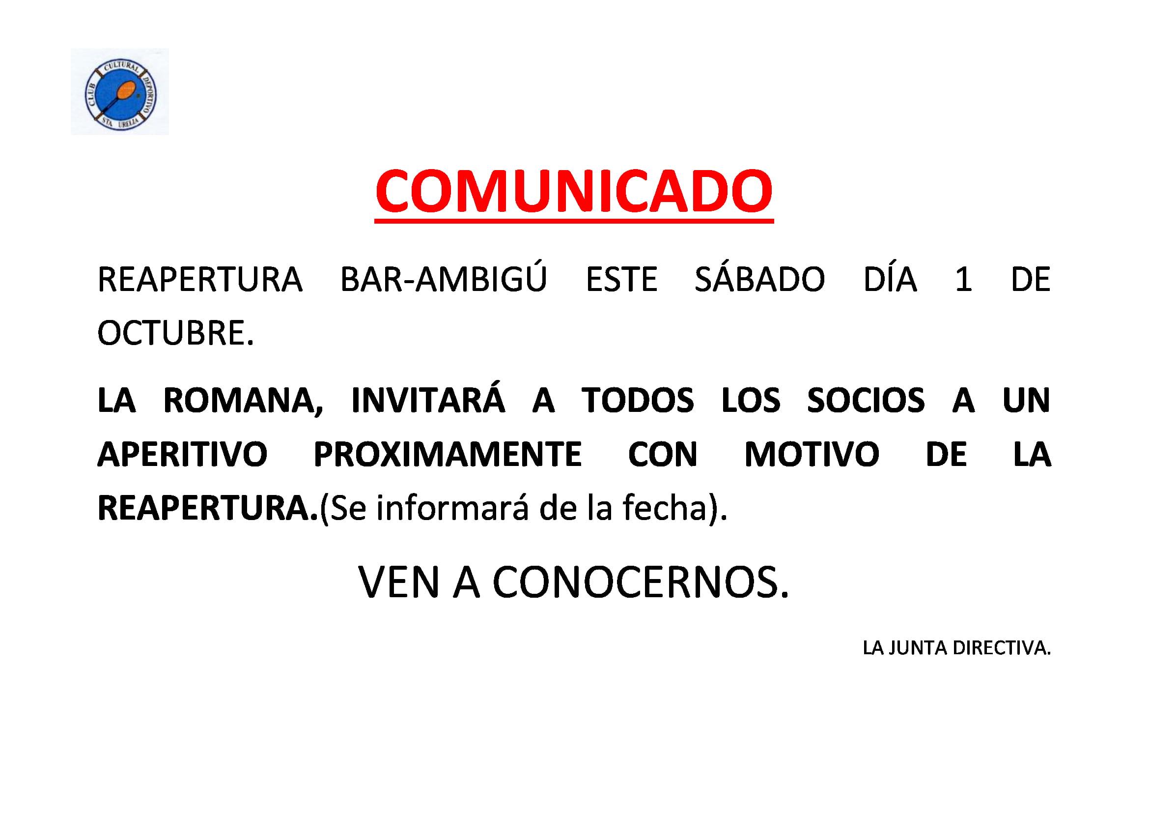 COMUNICADO APERTURA BAR DIA1 DE OCTUBRE