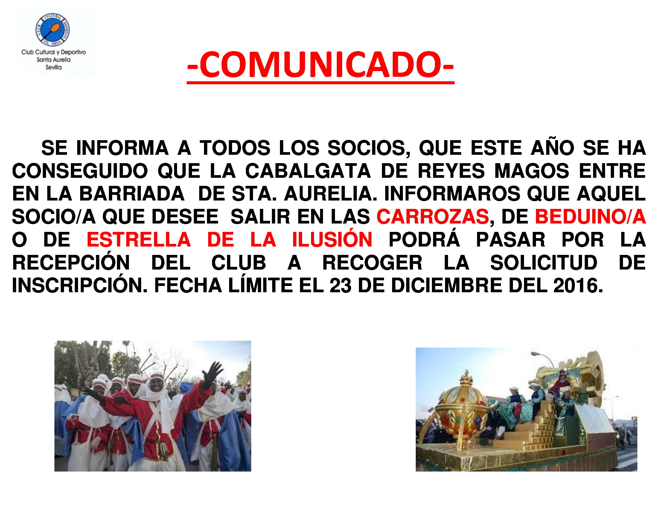 COMUNICADO CABALGATAS DE REYES
