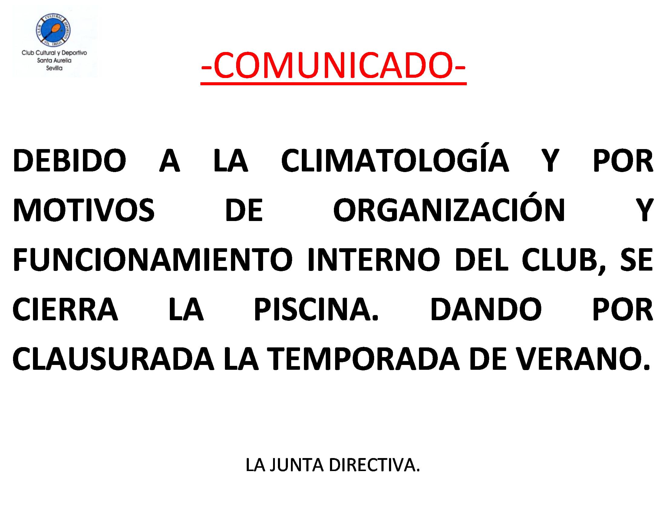 COMUNICADO CIERRE TEMPORADA DE PISCINA