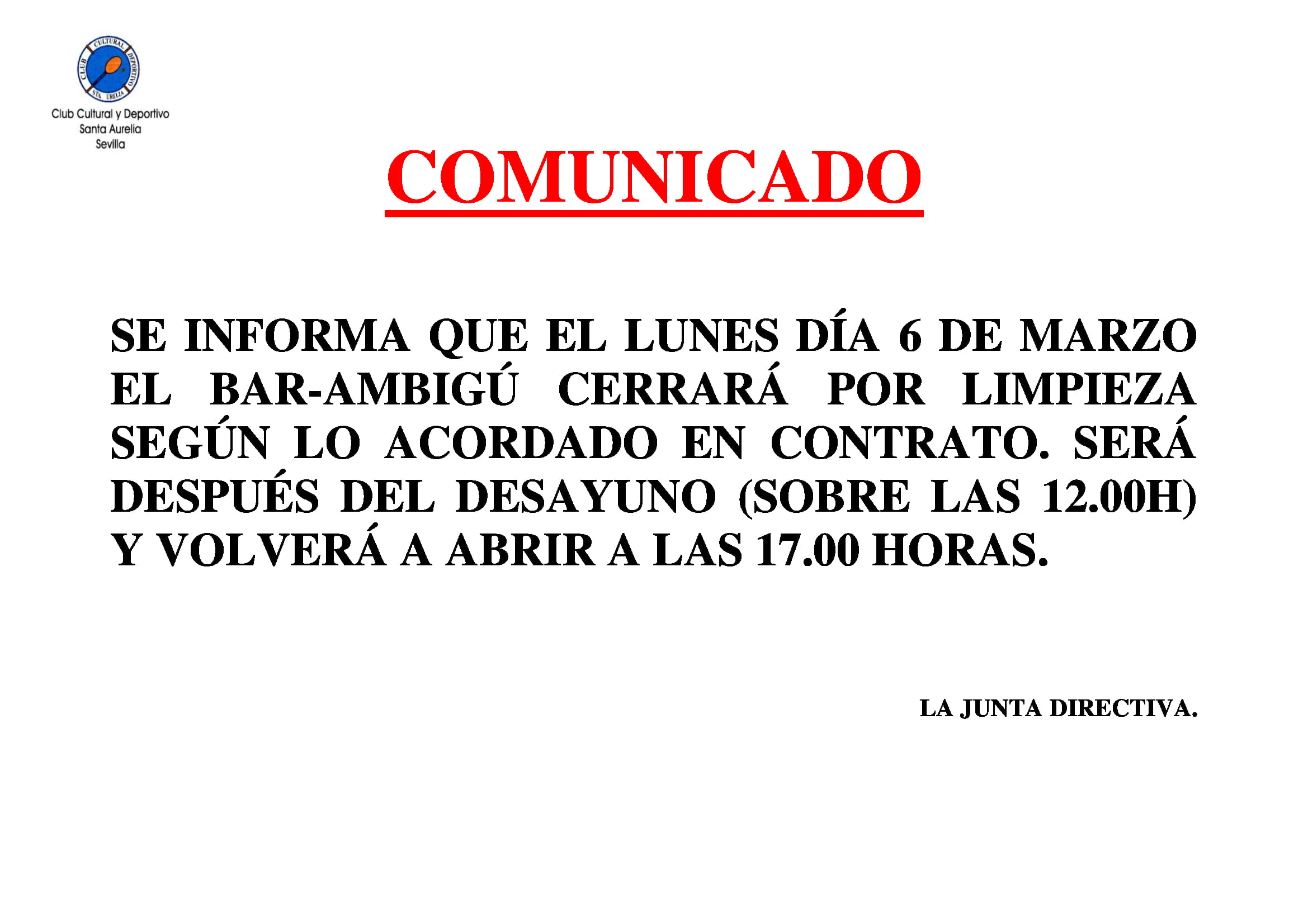 COMUNICADO LIMPIEZA CIERRE BAR 1