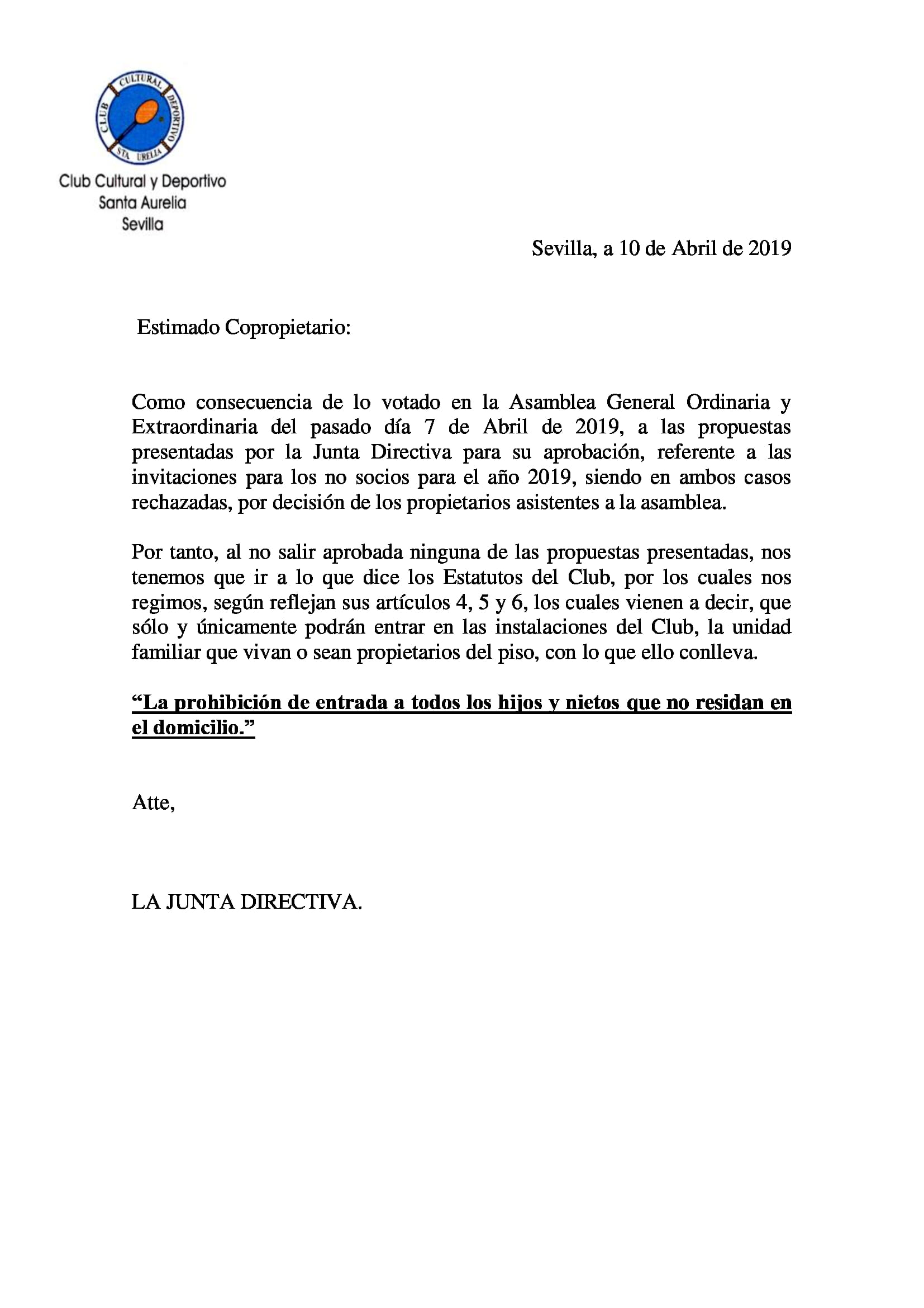 COMUNICADO SOCIO ASAMBLEA