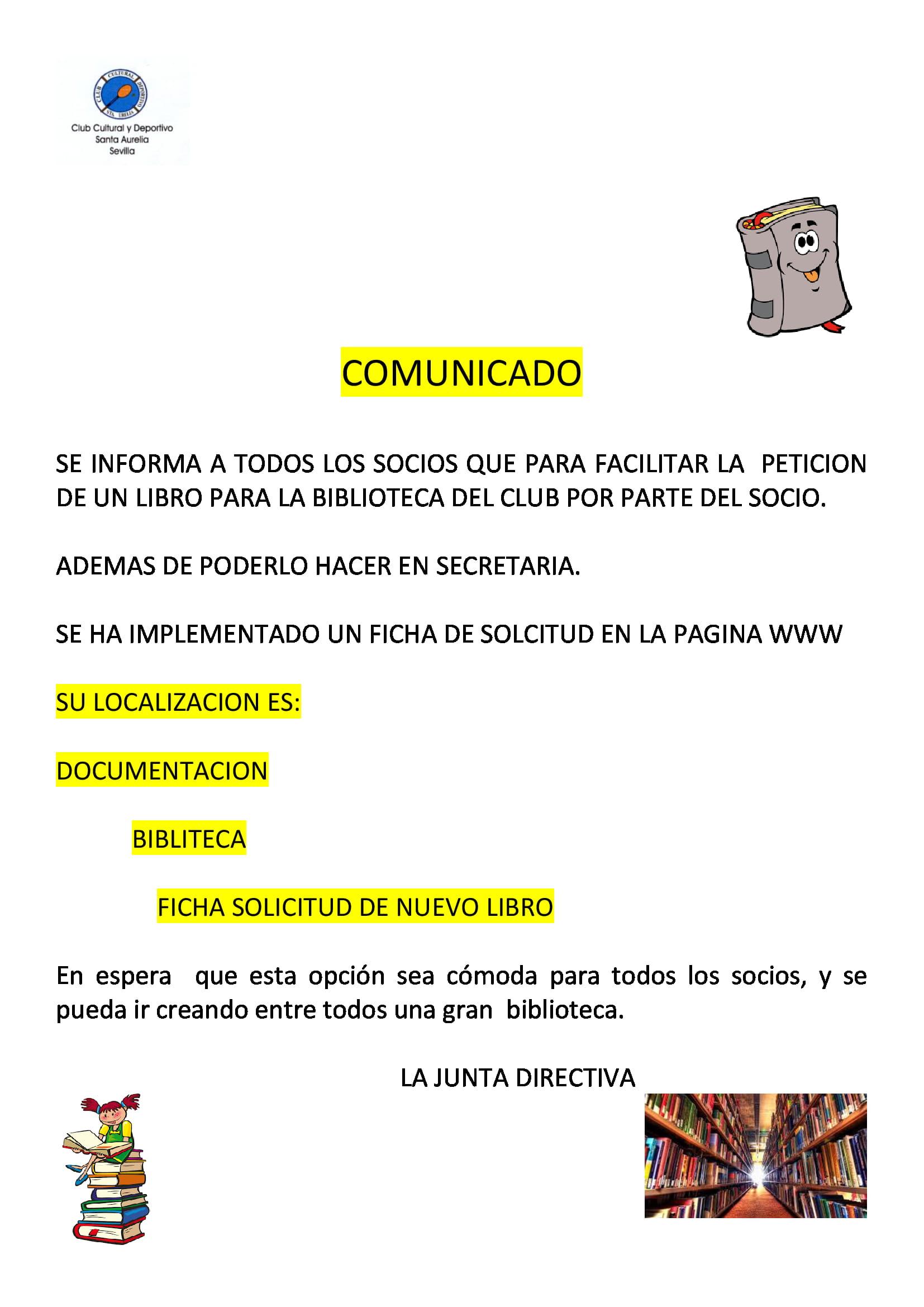 COMUNICADO SOLICITAR LIBRO A JD