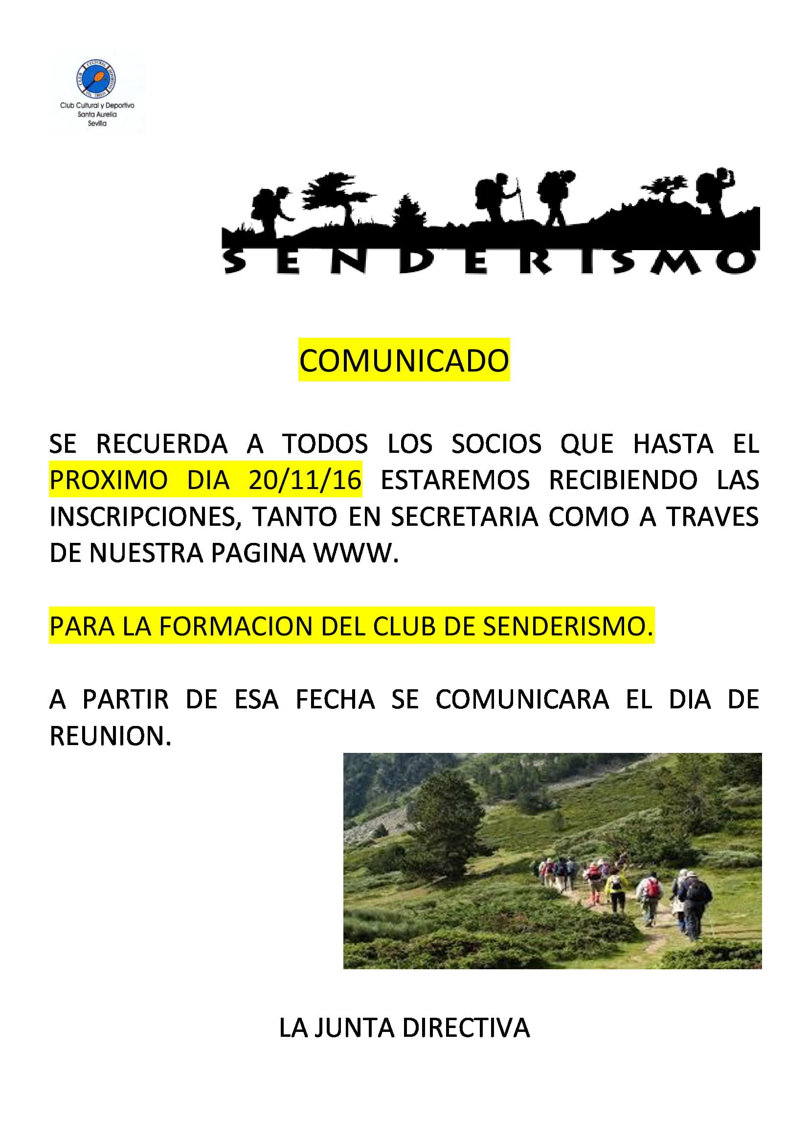 COMUNICADO ULTIMOS DIAS INSCRIPCION A SENDERISMO