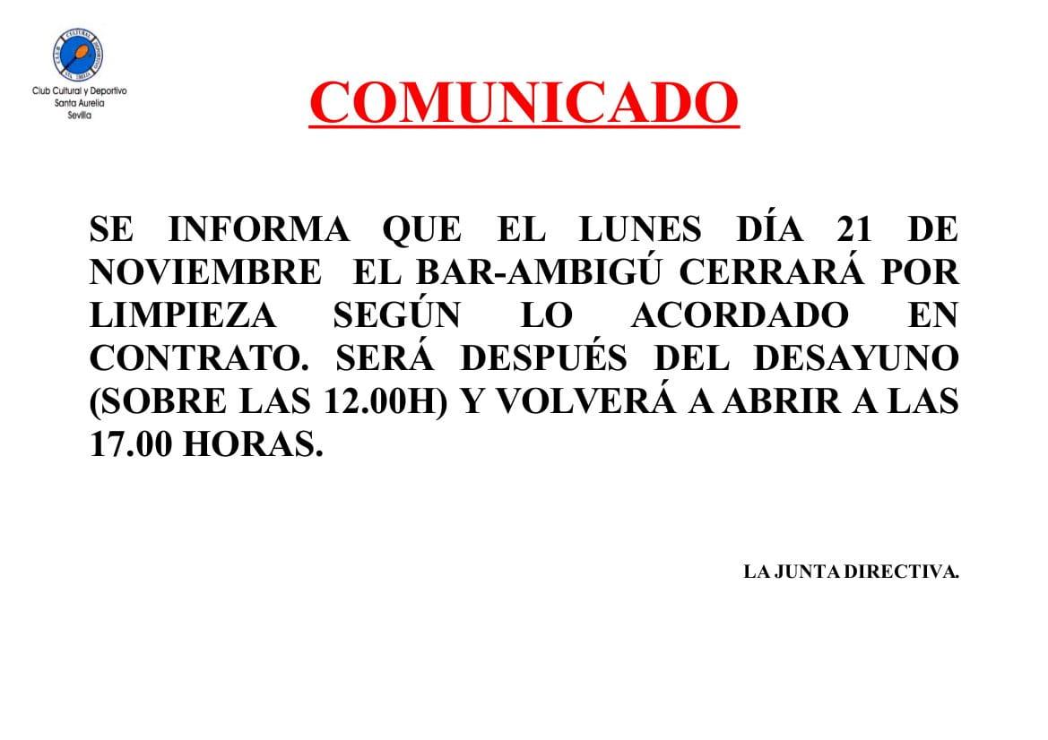 COMUNICADO LIMPIEZA CIERRE BAR