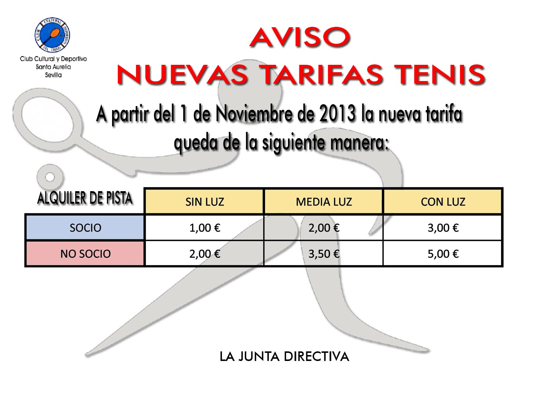 TARIFAS TENIS WEB