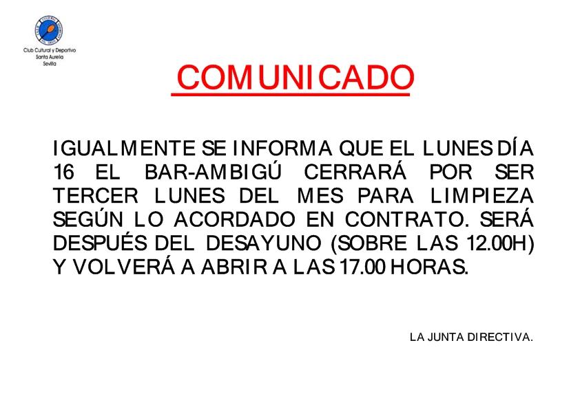 COMUNICADO CIERRE LIMPIEZA EL 16